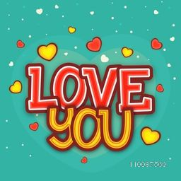Stylish Text Love You on hearts decorated background for Happy Valentine's Day celebration.