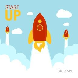 Flat illustration of flying rockets for New Business Project Start Up concept.