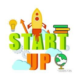 3D Text Start Up with flying rocket and other elements for New Business Project Launch in market.