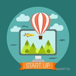 Creative flat style illustration of flying hot air balloon and desktop for Business Start Up or Development concept.