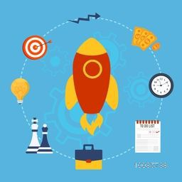Flat style illustration of flying rocket and various elements set for Start Up New Business Project.