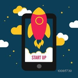 Creative rocket flying out from a tablet on cloudy background, Vector illustration for New Business Project Start Up concept.