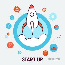 Flat style illustration of flying rocket and other elements for New Business Project Start Up, Development and Launch Product in the market.
