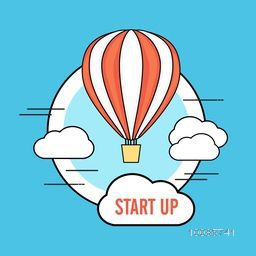 Creative flat style illustration of a flying hot air balloon for Business Start Up concept.