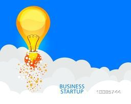 Business Start Up concept with illustration of a Light Bulb flying above clouds.