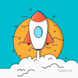 Flat style illustration of a flying Rocket for New Business Start Up concept.