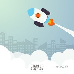 Creative Rocket flying over urban city, Vector illustration for New Business Start Up concept.