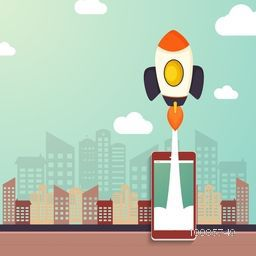 Creative illustration of a smartphone with flying rocket on urban city background for Business Start Up concept.