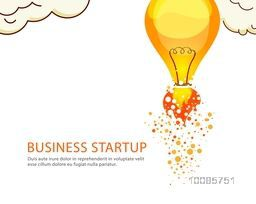 Business Start Up Poster, Banner or Flyer design with illustration of a light bulb on white background.