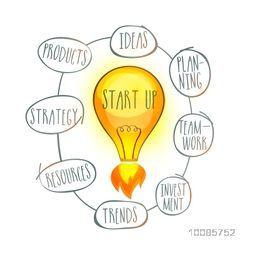 Creative vector illustration with light bulb, Showing steps or process of Business Start Up and New Project Launch.