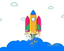 Creative Colorful Rocket flying in the sky, Vector illustration for New Business Project Start Up concept.