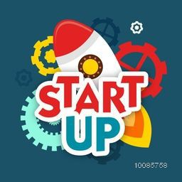 Stylish Text Start Up with illustration of flying rocket and gear symbols for New Business Project.