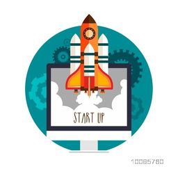 New Business Start Up concept with illustration of a rocket flying over desktop.