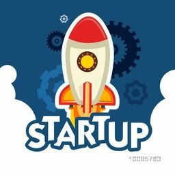 Flying Rocket on gear symbols background for Business Start Up concept, Can be used as sticker or label design also.