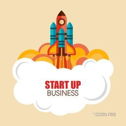Creative flying rocket for New Business project start up concept.