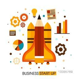 Creative rocket design with various infographic elements for New Business Start Up concept.