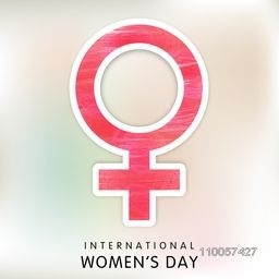 Pink sticky design of female symbol for International Women's Day celebration.