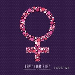 International Women's Day celebration with beautiful female symbol on purple background.