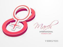 3D pink text 8 March with female symbol for International Women's Day celebration.
