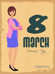 Young smiling lady in stylish pose on grungy background for International Women's Day celebration, can be used as template or brochure design.