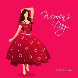 Young girl in beautiful red dress on pink background for Happy Women's Day celebration.
