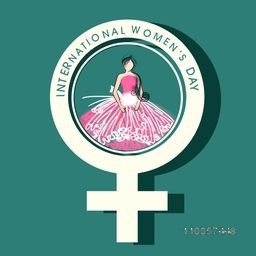 International Women's Day celebration with young girl in a big female symbol on green background.