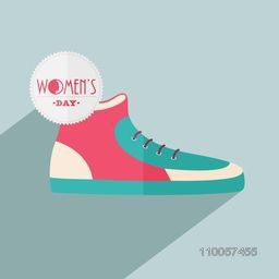 Happy Women's Day celebration with trendy shoe on blue background.
