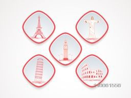 Icons of famous attractions of Europe for tourism on white background.