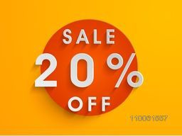 Stylish poster or tag for sale with 20% off on orange background.