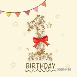 Kids 1st Birthday greeting card or invitation card design with beautiful decoration.