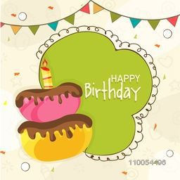 Happy Birthday celebration Invitation card decorated by delicious cake, party flag and space for your wishes.