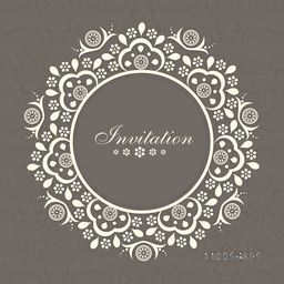 Floral decorated beautiful Invitation card design with space for your wishes.
