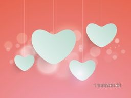 Illustration of Love sign with hanging heart shape on light red background.