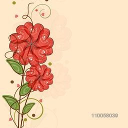 Happy Valentine's Day celebration love greeting card decorated by red heart shape flowers.