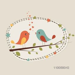 Cute romantic love bird couple sitting on a tree branch in hearts and stars decorated frame for Happy Valentine's Day celebration.