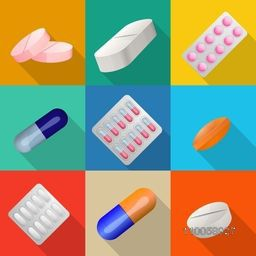 Colorful set of different pills or tablets for Health and Medical concept.