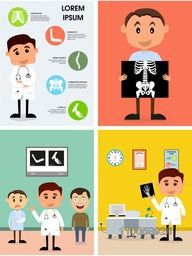 Colorful set of doctor's clinic with illustration of cartoon doctor and patient for Health and Medical.