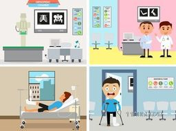 Cartoon of a doctor and different patients with broken legs and hand in orthopedic chamber.