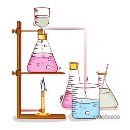 Lab experiment objects consist of beaker and flasks with chemical on grey background.