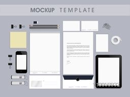 Professional blank corporate identity kit or mockup template with Letterhead, Business Cards, Envelopes, Notepads, Smartphone and Tablet PC.