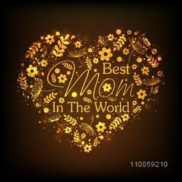 Beautiful floral design decorated golden heart with stylish text Best Mom in the World for Happy Mother's Day celebration.
