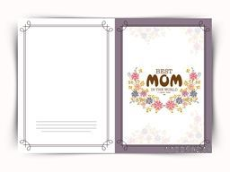 Beautiful floral design decorated greeting card with stylish text Best Mom in the World for Happy Mother's Day celebration.