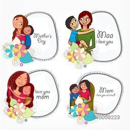 Set of stylish frames decorated with loving moms and their children for Happy Mother's Day celebration.