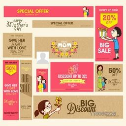 Social media and marketing header or banner set of Big Sale with discount offer for Happy Mother's Day celebration.