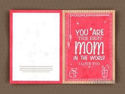Elegant greeting card design for Best Mom in the World on occasion of Happy Mother's Day celebration.