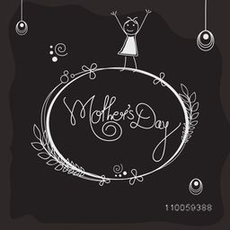 Happy Mother's Day celebration with floral design decorated frame and cartoon of a girl on black background.
