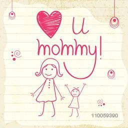 Stylish text Love U Mommy with cartoon of girls on notebook paper for Happy Mother's Day celebration.