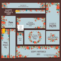 Floral design decorated social media or marketing header or banner set for Happy Mother's Day celebration.