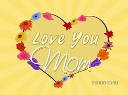 Colorful flowers decorated heart shape with text Love You Mom on abstract rays background for Happy Mother's Day celebration.
