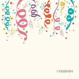 Colorful ribbons and confetti decoration for party or carnival celebration.